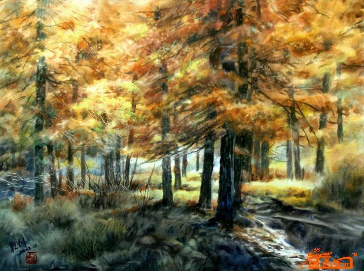 名家 杨乾钊 水彩 - 13-阳光下的杉树林